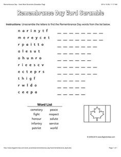 Remembrance Day word scrambles with the Canadian flag. 4 levels of difficulty. Scrambled words change each time you visit