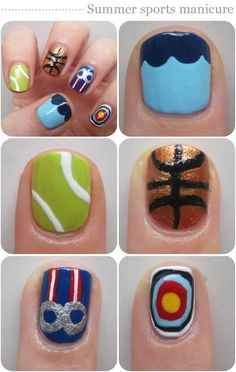 Awesome Olympics Nails Representing swimming, tennis, basketball, rings and archery! Pretty Nail Designs, Nail Art Designs, Cute Nails, Pretty Nails, Softball Nails, Hair And Nails, My Nails, Nail Photos, Shellac Nails