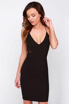 Black Spaghetti Strap Contrast Lace Dress - Sheinside.com