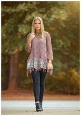 Mad about Mauve Fringe Sweater