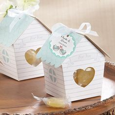 Personalized Bird House Favor Boxes! These are sweet and could be filled with candy or cookies or birdseed.