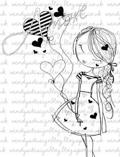 Amore by alldressedupstamps on Etsy, Doodle Drawings, Cute Drawings, Colouring Pages, Coloring Books, Stick Figures, Digi Stamps, Cute Dolls, Cute Illustration, Rock Art