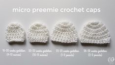 Free Crochet Pattern in 4 sizes: 26-28 weeks (2-3 pounds), 22-25 weeks (1-2 pounds), 20-22 (10-15 ounces) and 16-20 (4-10 ounces).