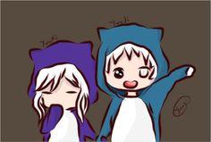 #twins #anime #manga #kawaii #chibi #boy #girl #couple #white