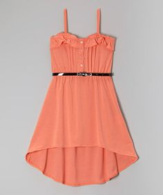 This Frothy Pink Belted Hi-Low Dress - Girls by Chillipop is perfect! #zulilyfinds omg I am loving it