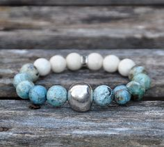 Gemstone and Silver Beaded Bracelet / Handmade by BeadRustic, $40.00