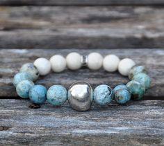 Gemstone and Silver Beaded Bracelet