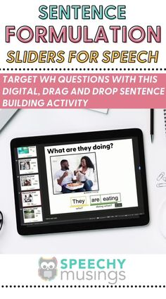 Target WH questions, formulating sentences, and early syntax with this digital, drag-and-drop, sentence building activity! Because it uses real pictures and age-appropriate, simple icons, it can be used with a wide variety of students, ages, and levels! This digital resource is great for in person speech therapy or teletherapy or distance learning! #sentenceformulationactivities #sentenceforumlationspeechtherapy #speechtherapyactivities #whquestions #speechideas #slp Sentence Building, Receptive Language, Wh Questions, Subject And Verb, Simple Sentences, Sentence Structure, Apraxia, Speech Therapy Activities, Learn English