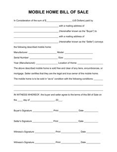 Bill of Sale Free Mobile (Manufactured) Home Bill of Sale Form - PDF | Word | eForms – Free Fillable Forms