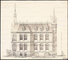Ansicht, Inschrift: [u. r.] M German Architecture, Classic Architecture, Historical Architecture, Portal, Architectural Antiques, Old Buildings, Antique Prints, Facades, Daken