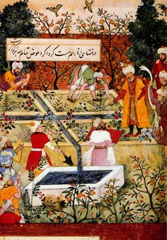 Babur's Garden from the Baburnama, ca. 1590 Mughal India, showing the Persian style chahar bagh divided by four water channels. Persian translation commissioned by his grandson Akbar from the original memoir written in Chaghatay Turkish.