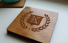 Personalized Wood Coaster Set Of 4 Custom Engraved Wood Coaster, Monogram Family Crest, Personalized Wedding Favor, Wedding, Anniversary, Housewarming, Christmas Gift. Handmade by Sugar Tree Gallery $15.95