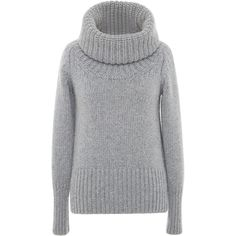 Blumarine Heather Grey Cashmere Turtleneck Sweater (2,840 CAD) ❤ liked on Polyvore featuring tops, sweaters, cashmere turtleneck, ribbed turtleneck sweater, long sleeve turtleneck top, blumarine sweaters and cashmere tops