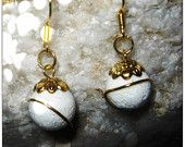 Handmade Gold Hook Earrings with White Bubble Coral by IreneDesign2011