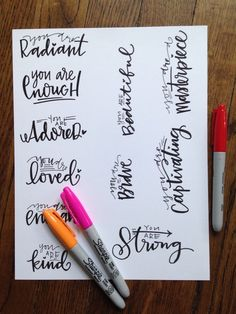 Cool lettering ideas [ www.maidservant-o. Calligraphy Letters, Typography Letters, Modern Calligraphy, Sharpie Calligraphy, Creative Lettering, Brush Lettering, Lettering Ideas, Cool Lettering, Diy Inspiration