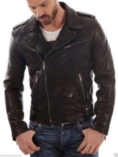 Lambskin Leather Jacket Genuine Mens Stylish Biker Motorcycle Black slim fit X23 #WesternOutfit #Motorcycle