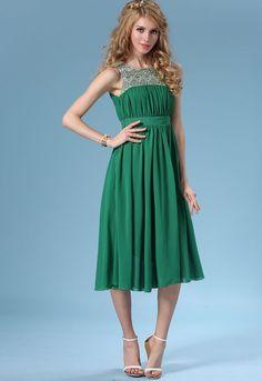 Buy Sleeveless Embroidered Chiffon Pleated Dress from abaday.com, FREE shipping Worldwide - Fashion Clothing, Latest Street Fashion At Abaday.com