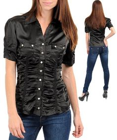 Black Career Silk Satin Blouse Button Up Top - high neck blouse women's shirts, women with blouse, striped womens blouse *ad