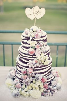 "Naked chocolate cake with sugared fruit. // Not a fan of the ""covered in sugar"" look or the cake topper, but good idea to make some or all of the layers chocolate! Pretty Cakes, Beautiful Cakes, Wedding Cake Designs, Wedding Cakes, Fruit Wedding, Wedding Ideas, Cake Cookies, Cupcake Cakes, Cupcakes"