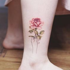 Gorgeous Ankle Flower Tattoo You Can't Miss This Summer; Ankle Tattoos Ideas for Women;Ankle Tattoos Concepts for Girls; Rose Tattoo On Ankle, Flower Tattoo Back, Ankle Tattoo Small, Back Tattoo, Small Tattoos, Hand Tattoos, Ankle Tattoos, Ankle Tattoo Designs, Flower Tattoo Designs