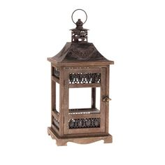 Antique Wooden Lanterns | ... » Oriental Wooden Antique Brown Square Lantern Timber Metal Candle
