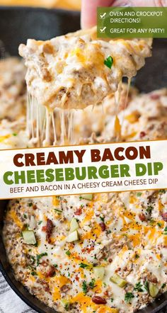 ) - The Chunky Chef Creamy, cheesy, and oh so addicting, this bacon cheeseburger dip is just like your favorite gooey cheeseburger. but in a party-ready dip form! Cheeseburger Wraps, Cheeseburger Meatloaf, Bacon Appetizers, Appetizer Dips, Appetizers For Party, Appetizer Recipes, Dip Recipes, Quick Appetizers, Casserole Recipes