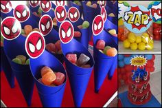 Festa Homem-Aranha Baby cone azul com gominhas, Avengers Birthday, Batman Birthday, Superhero Birthday Party, 4th Birthday Parties, Birthday Party Decorations, 5th Birthday, Spider Man Party, Superman Party, Avenger Party