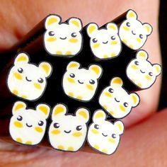 Hamster Polymer Clay Cane Kawaii Animal Fimo Cane Nail Deco Nail Art Nail Decoration Scrapbooking. $1.20, via Etsy.