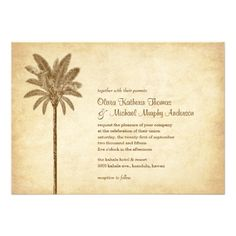 Vintage Palm Tree Beach Wedding Invitations