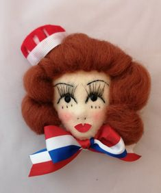 Large Diner girl / patriotic felt face brooch by LoveFromLulugiftshop on Etsy Corsage, Pin Up Girls, Hand Stitching, Felt, Teddy Bear, Brooch, Celebrities, Places, Etsy
