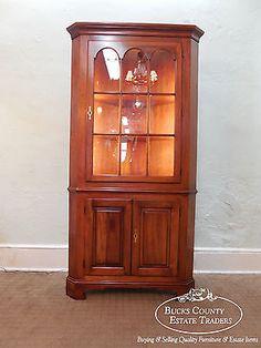 Statton-Traditional-Cherry-Centennial-Corner-Cabinet-Cupboard