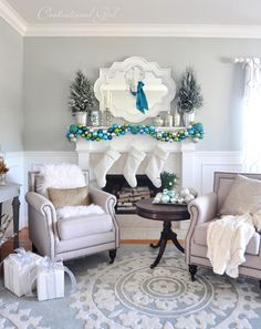 christmas mantel with pretty wrapped boxes on ground and festive ornament tray on side table