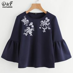 Cheap cute blouse, Buy Quality top navi directly from China long sleeve women Suppliers: Dotfashion Flower Embroidered Trumpet Sleeve Top Navy Round Neck Bell Sleeve Casual Shirt Autumn Long Sleeve Women Cute Blouse Fancy Tops, Cute Blouses, Kurta Designs, Short Tops, Pull, Casual Shirts, Bell Sleeves, Cute Outfits, Fashion Outfits