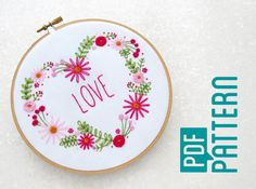 Love Heart Hoop Art Pattern Flower Hand Embroidery Download