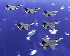 """U.S. Air Force F-16 Fighting Falcons: Early Birds of the """"Vipers'"""" 40 years USAF service (2014). Six ship delta formation of F-16 Fighting Falcons. Aircraft from 35th Tactical Fighter Squadron, 8th Tactical Fighter Wing, deployed to Kunsan Air Base, Republic of Korea."""