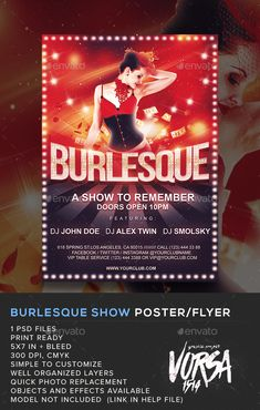 Burlesque show poster / PSD flyer  Template • Only available here ➝…