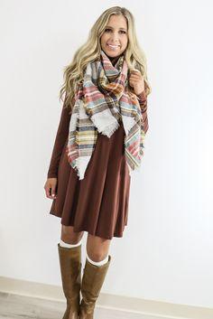 Royal Tower Power Cocoa Brown Long Sleeve Basic Dress