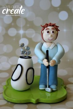 Golf cake topper - fondant golfer and clubs by Love Cake Create lov Golf Cake Toppers, Golf Cakes, Fondant Cake Toppers, Cupcake Toppers, Celebration Cakes, Birthday Celebration, Sport Cakes, Golf Theme, Cakes For Men