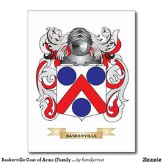Baskerville Coat of Arms (Family Crest) Postcard