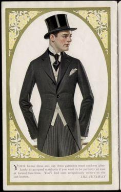 J.C. Leyendecker, Kuppenheimer Style Booklet, interior illustration. Morning Suits, Morning Dress, 1940s Mens Fashion, Vintage Fashion, Jc Leyendecker, 20th Century Fashion, Sharp Dressed Man, Gentleman Style, Vintage Men