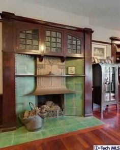 Arts and Crafts Bungalow | Fireplace |  1908 Lewis J. Merritt Mansion on Pasadena's Millionaires Row | Stickley, Roycroft, Marie Zimmermann, Dirk Van Erp, Limbert