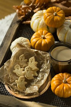 """Ghostie"" cookies & decorative gourds/ mini pumpkins ~ Fall season"