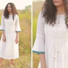 Chendamangalam, a tiny hamlet in Kerala, was devastated by the floods of Its handloom industry, which weaves one of the finest cotton… Simple Kurti Designs, Crop Top Designs, Kurta Designs, Abaya Fashion, Women's Fashion Dresses, Modest Dresses For Women, Frocks And Gowns, Indian Designer Suits, Dress Neck Designs