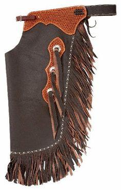 Saddles Tack Horse Supplies - ChickSaddlery.com Tough-1 Premium Smooth Leather Chinks With Basketweave Yoke