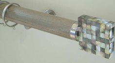 Walcot House 50mm Curtain Pole French Grey, Mother of Pearl Riva Slice