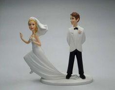 Tarta nupcial: Fotos muñecos de novios, novia en fuga