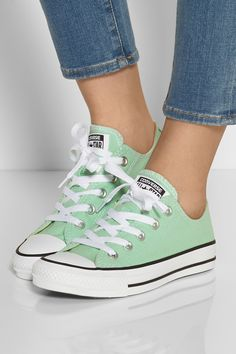 Converse - Chuck Taylor All Star canvas sneakers from NET-A-PORTER. Mode Converse, Converse All Star Sneakers, Converse Chuck Taylor All Star, Canvas Sneakers, Green Converse, Running Sneakers, Cute Shoes, Me Too Shoes, Kd Shoes