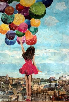 torn paper collage with balloon print balloons Magazine Collage, proof that you can make beautiful art with ANYthing Magazine Collage, Magazine Art, Paper Collage Art, Paper Art, Ecole Art, Art Plastique, Art Lessons, Art Projects, Art Drawings