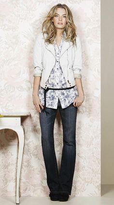 belted floral shirt, cropped jacket.