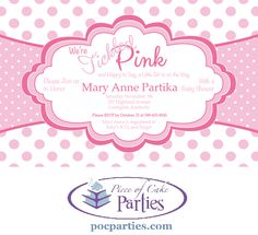 Tickled Pink baby girl shower invite.  By Piece of Cake Parties.  Charming.  Effortless.  Affordable.